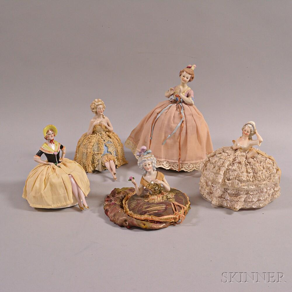 Five Porcelain Pincushion Dolls