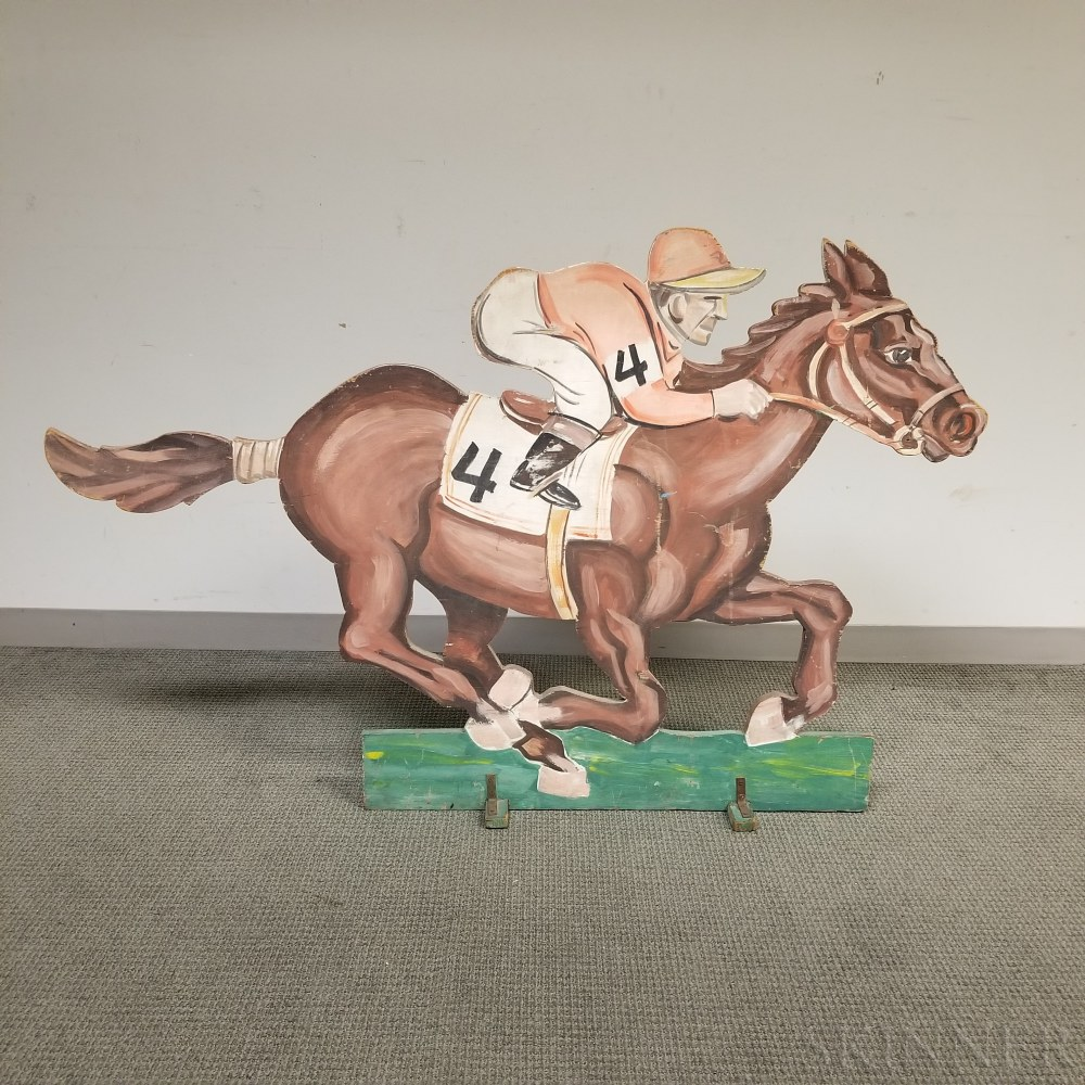 Paint-decorated Plywood Horse and Jockey