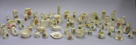 Collection of Approximately Sixty-four Small Goss China Souvenir Table Items.