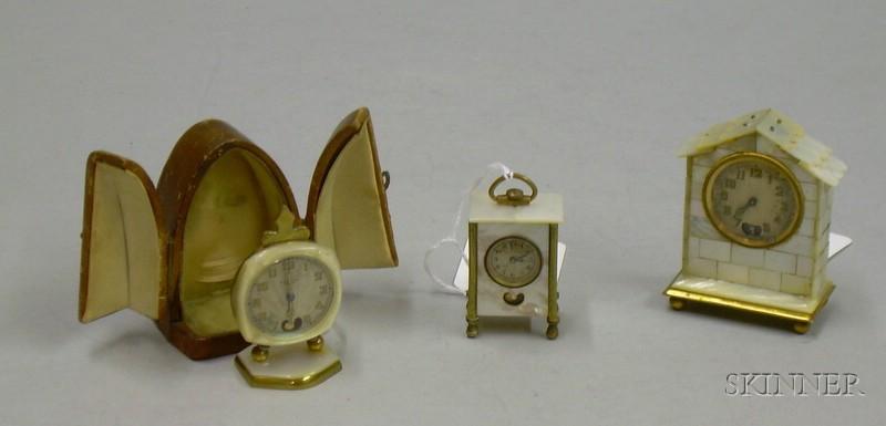 "Group of Three Miniature ""Sweetheart"" Clocks"