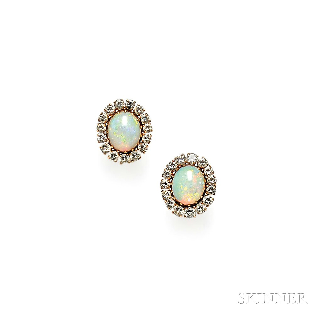 14kt Gold, Opal, and Diamond Earrings
