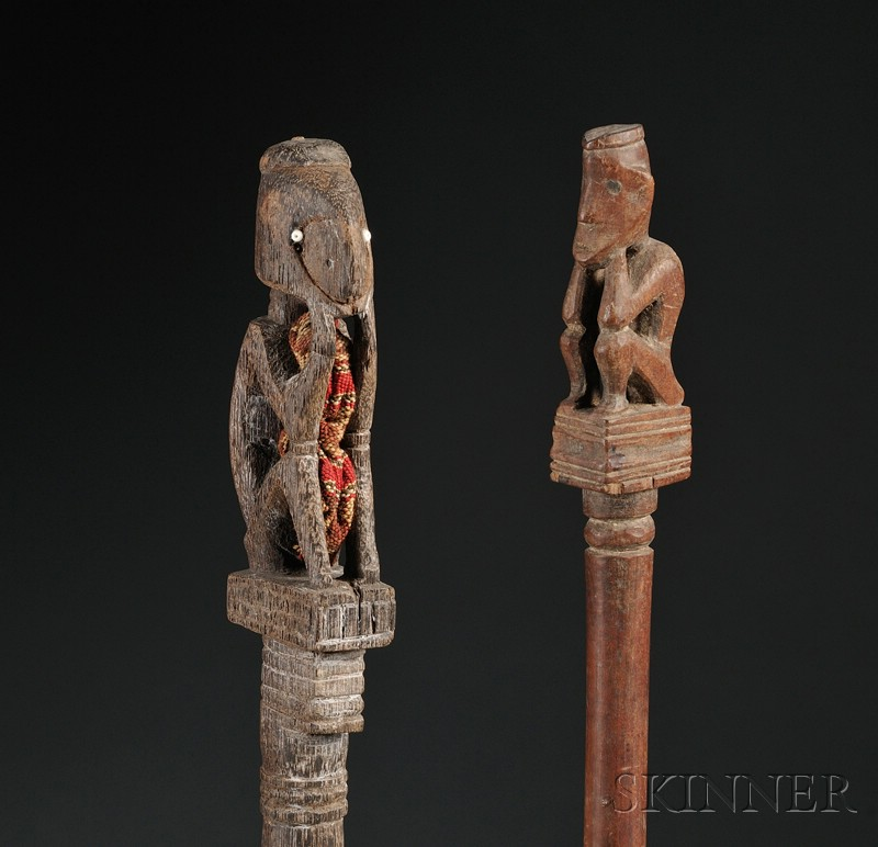 Two Indonesian Carved Wood Pig Trap Charms