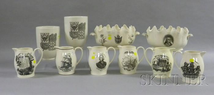 Ten Wedgwood Black Transfer Decorated Creamware Items