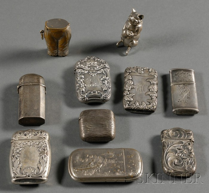 Ten Sterling and Silver Plate Matchsafes