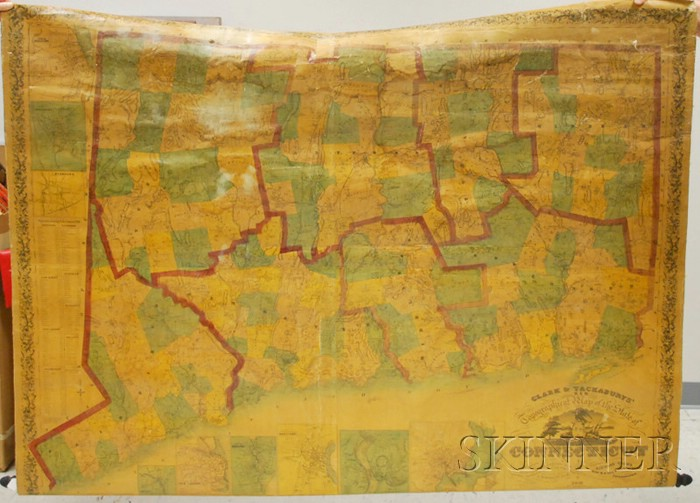 Clark & Tackaburys' Hand-colored Lithograph Topographical Map of the State of   Connecticut