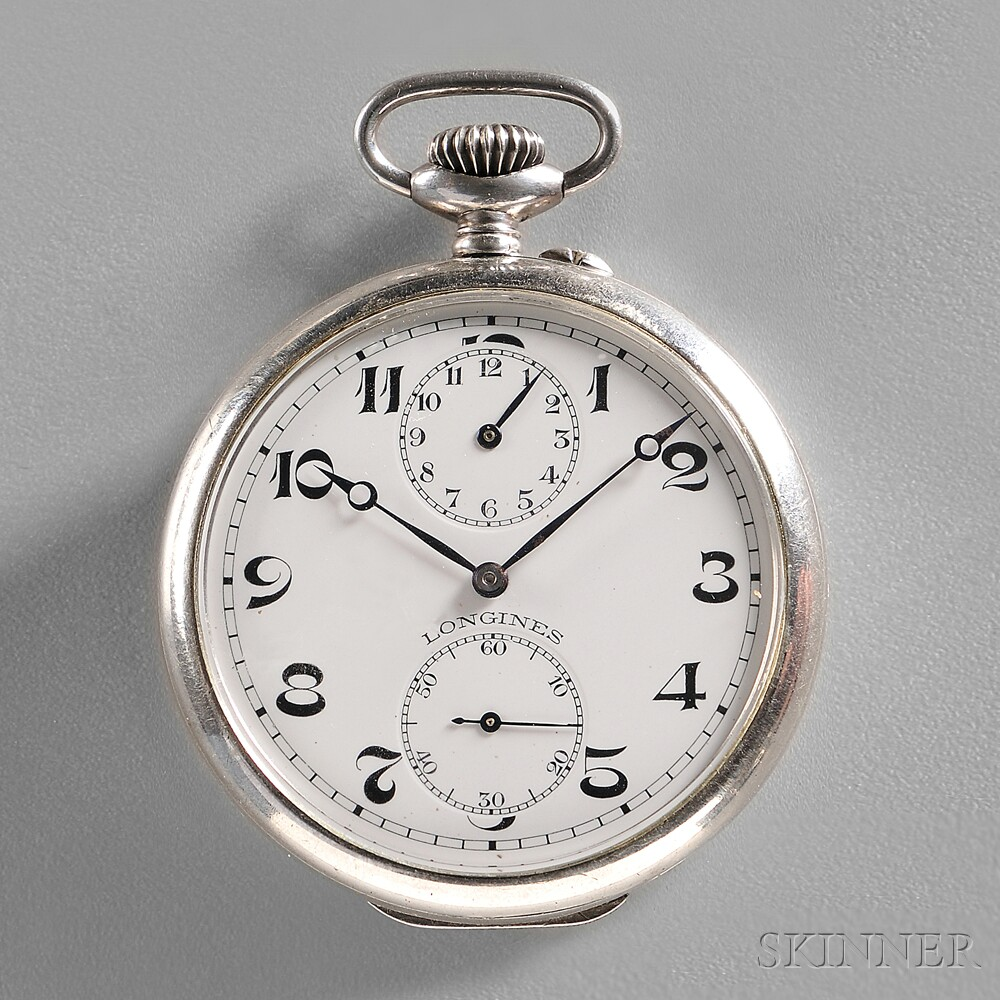 Silver Longines Pocket Alarm Watch