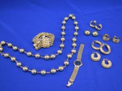 Group of Gold and Goldtone Jewelry and Wristwatches.
