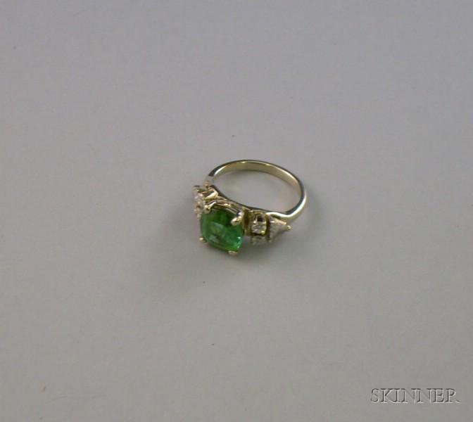 14kt Gold, Green Tourmaline, and Diamond Ring