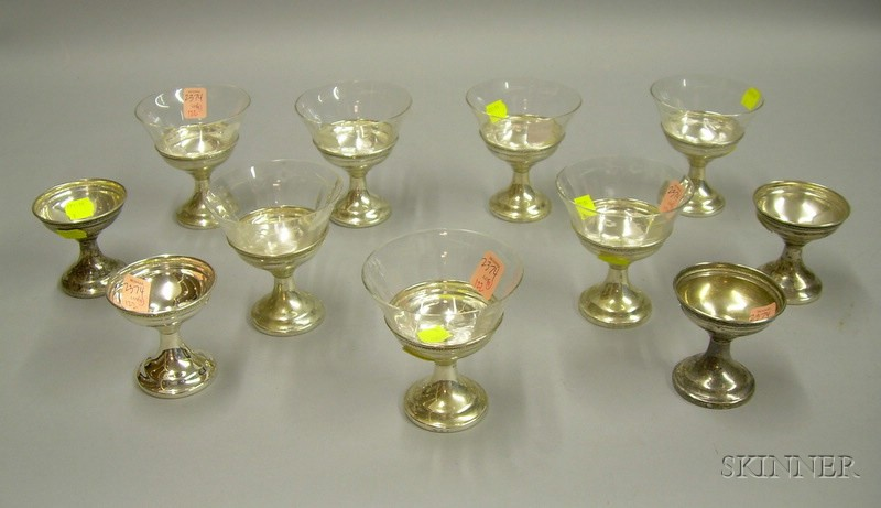 Eleven Sterling Silver Sherbet Cups with Seven Glass Liners.