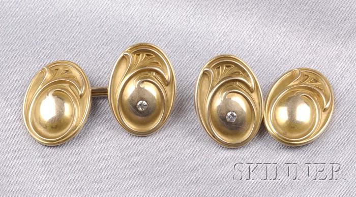 Art Nouveau 14kt Gold Cuff Links, Kohn