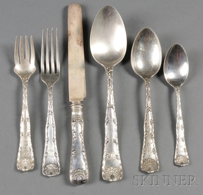 """Partial Tiffany & Co. Sterling """"Wave Edge"""" Flatware Service"""