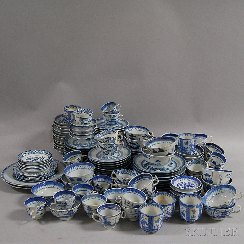 Approximately 122 Pieces of Canton and English Transfer-decorated Tableware
