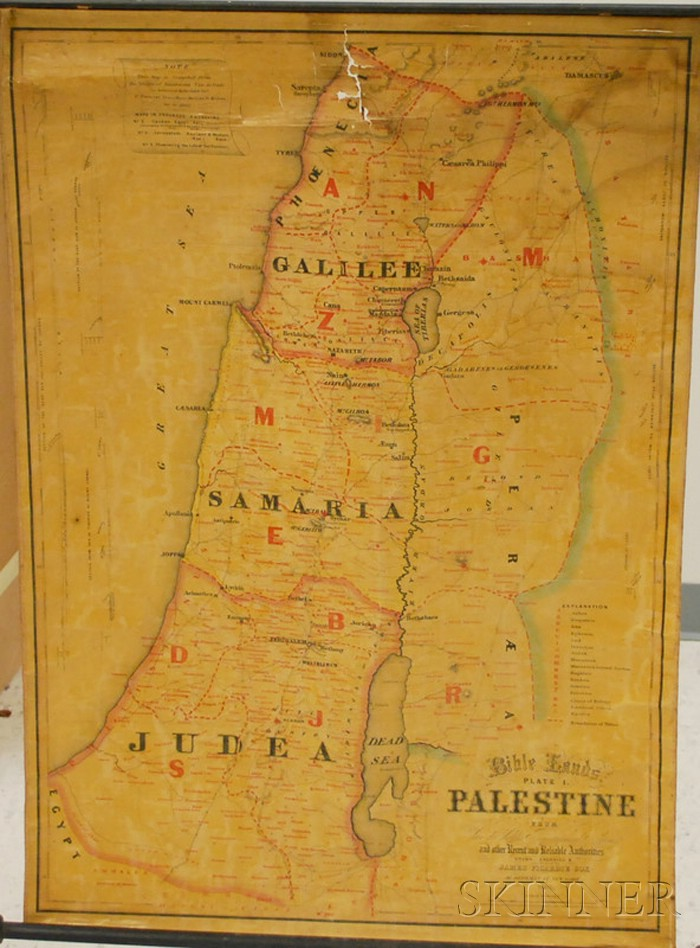 James Picardie Cox Hand-colored Lithograph Palestine   Map