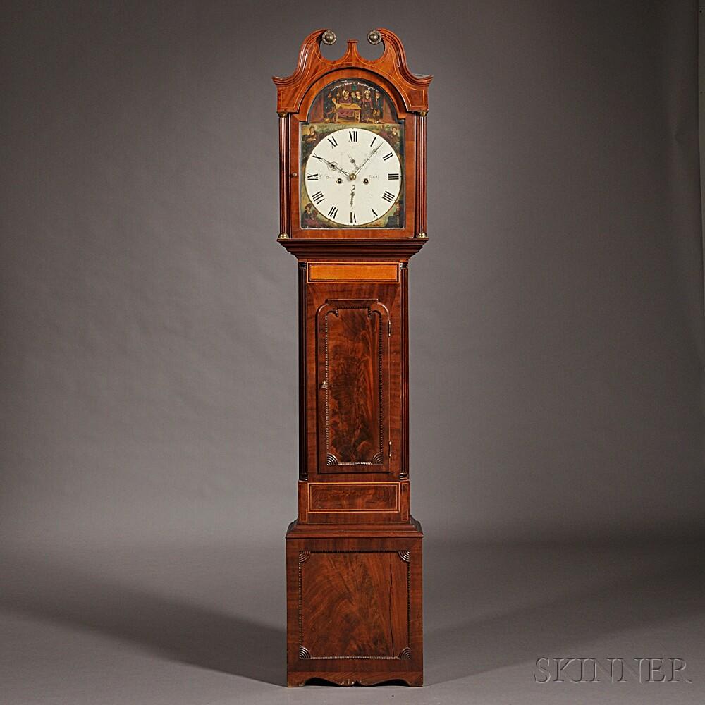 Joseph Dunbar Mahogany and Satinwood Tall Clock