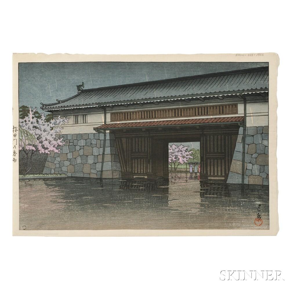 Kawase Hasui (1883-1957), Spring Rain at Sakurada Gate