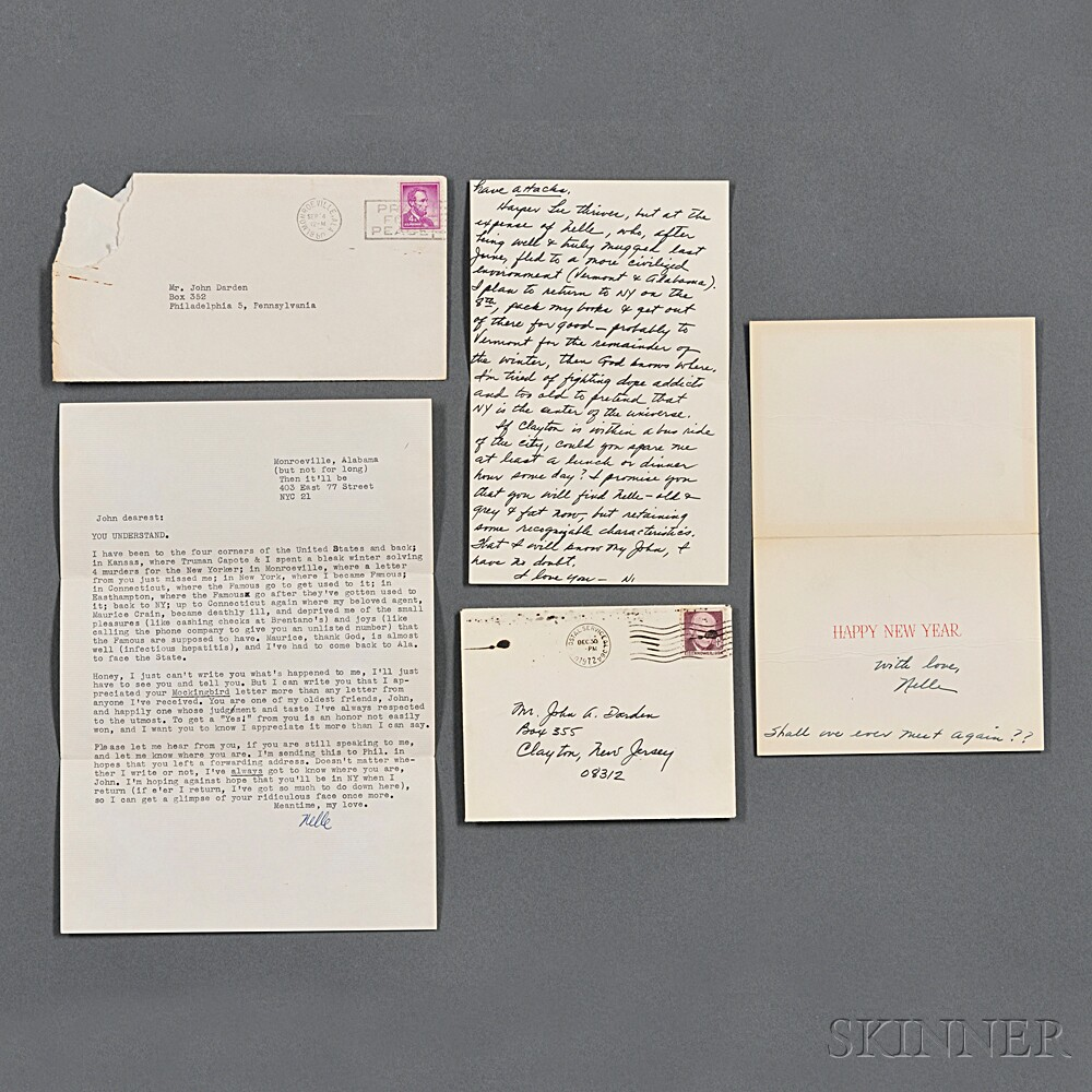 Lee, Nelle Harper (b. 1926) One Typed Letter Signed, One Autograph Letter Signed, One Christmas Card Signed, 1960 and 1972.