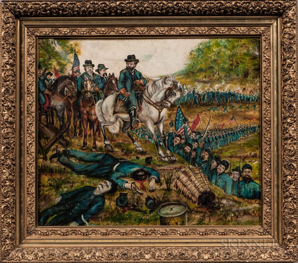 American School, Late 19th Century      Civil War Battle Scene
