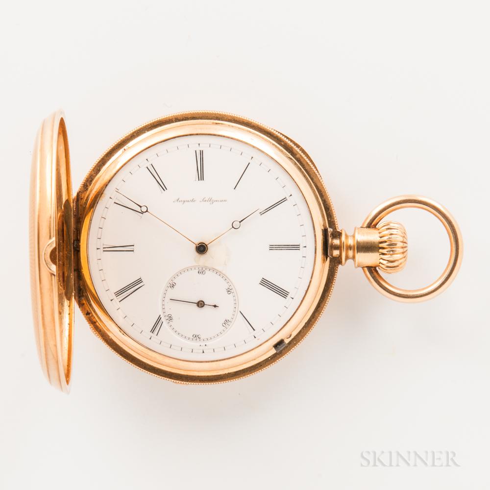 Auguste Saltzman 18kt Gold Hunter-case Watch