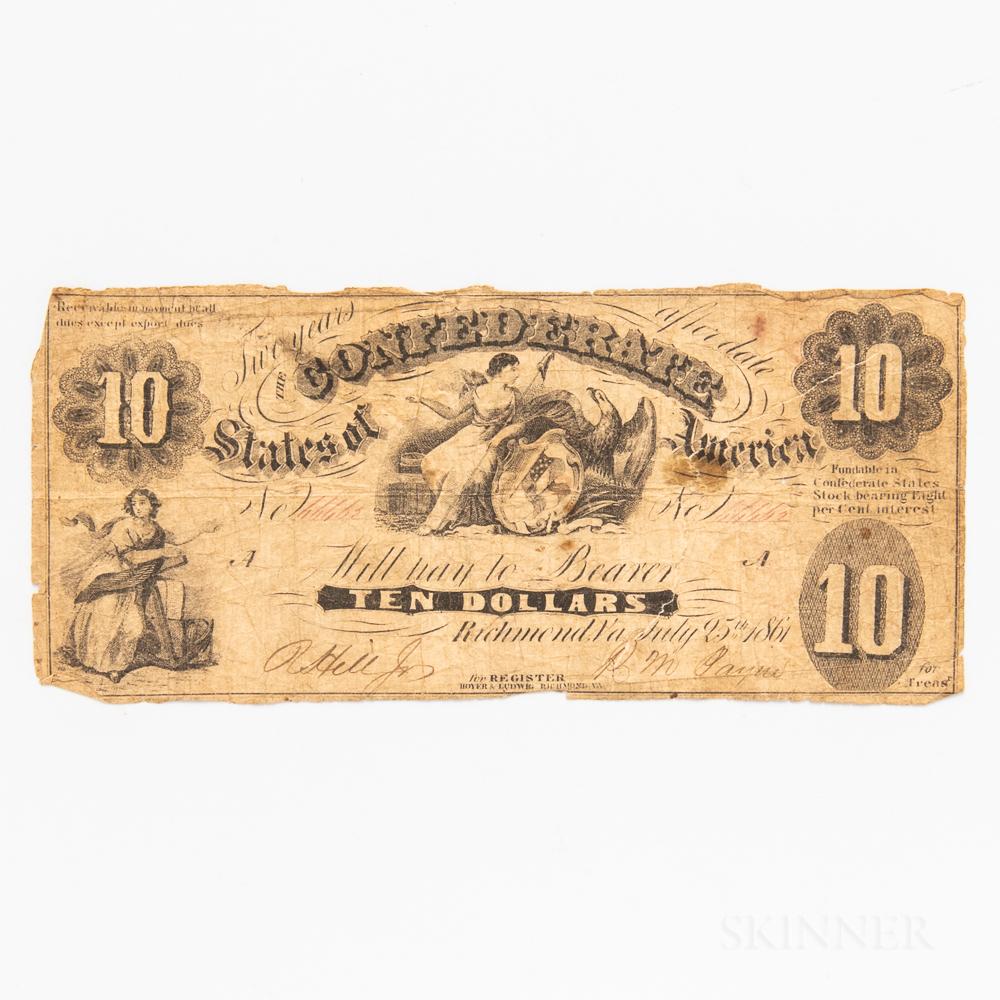 1861 Confederate States T10 $10 Note