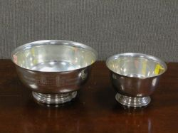 Two Small Sterling Silver Revere-style Bowls.