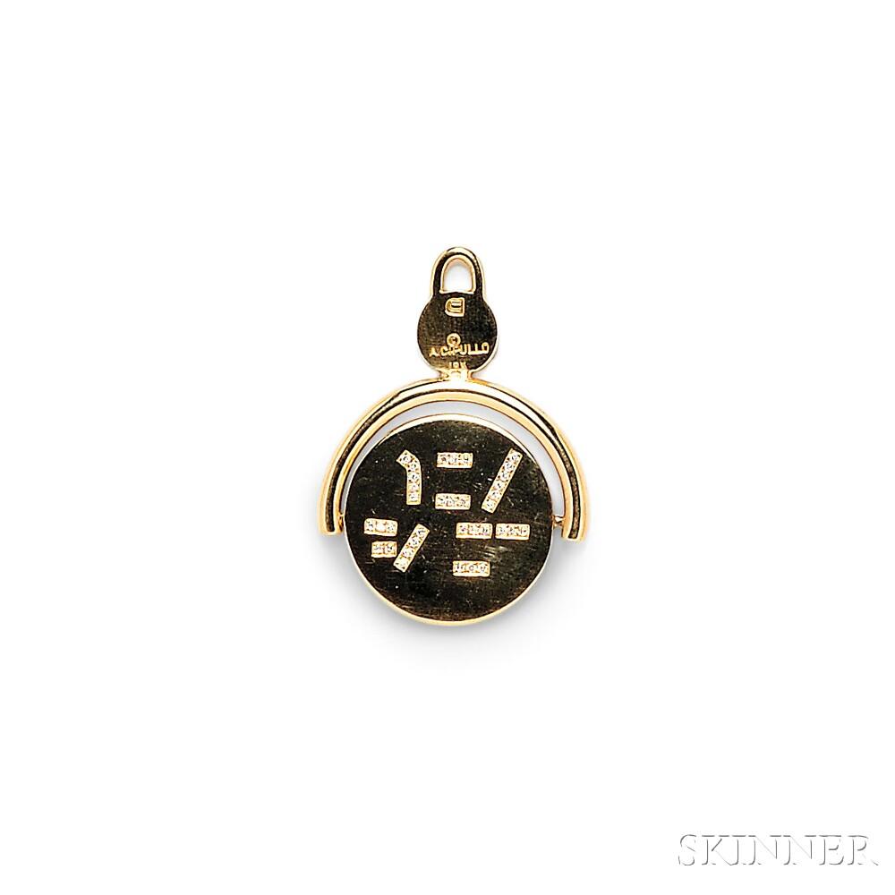 18kt Gold and Diamond Spinner Charm, Aldo Cipullo