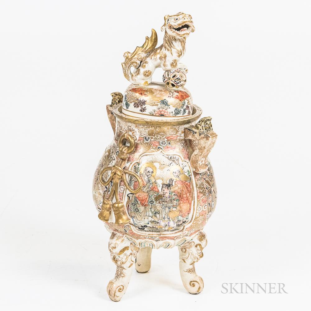 Japanese Satsuma Porcelain Covered Urn