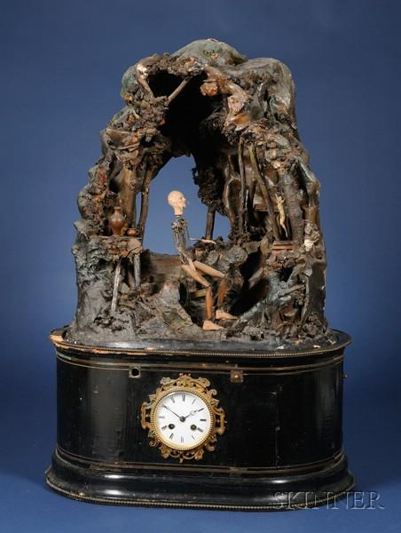 Rare Gothic Automaton Clock Depicting a Mystic