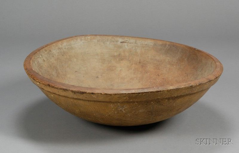 Yellow-painted Turned Ash Bowl