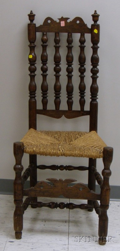 Elmwood Bannister-back Side Chair with Woven Rush Seat.