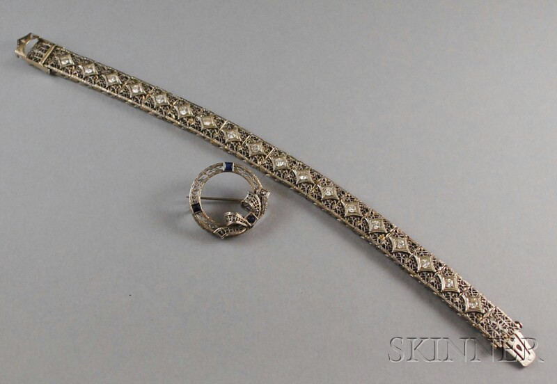 Two 14kt White Gold Jewelry Items
