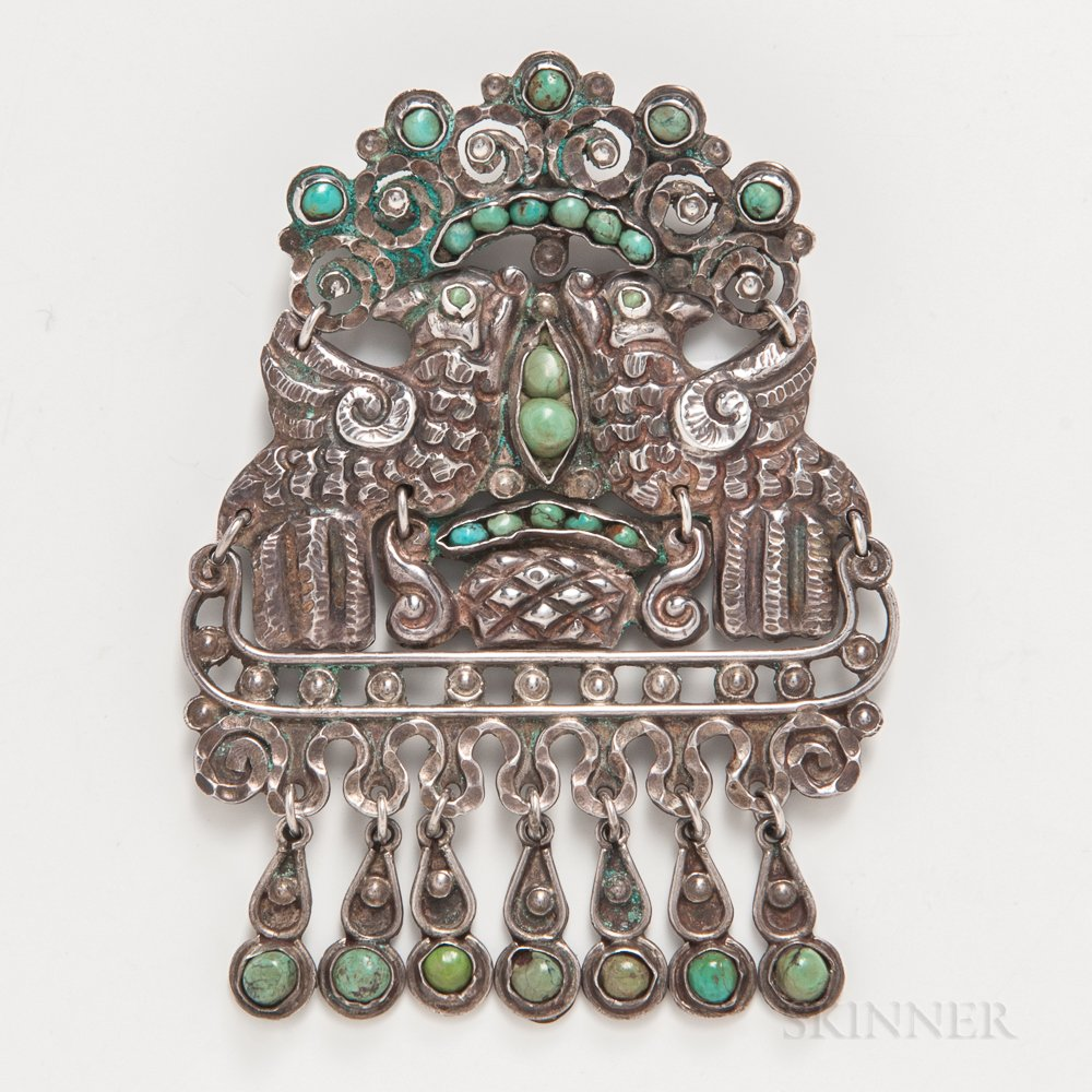 Matilda Eugenia Poulet Mexican Silver and Turquoise Brooch