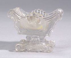 Colorless Pressed Pattern Lacy Glass Shell Pattern Salt