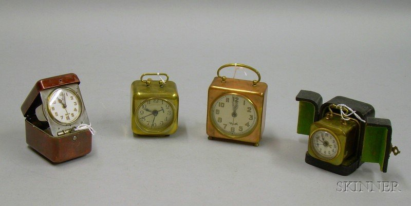 Group of Four Travel Alarm Clocks
