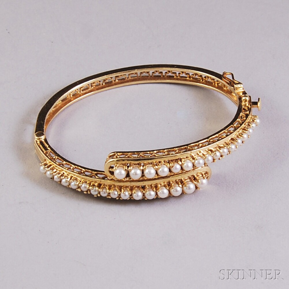 14kt Gold and Pearl Bypass-style Hinged Bangle Bracelet