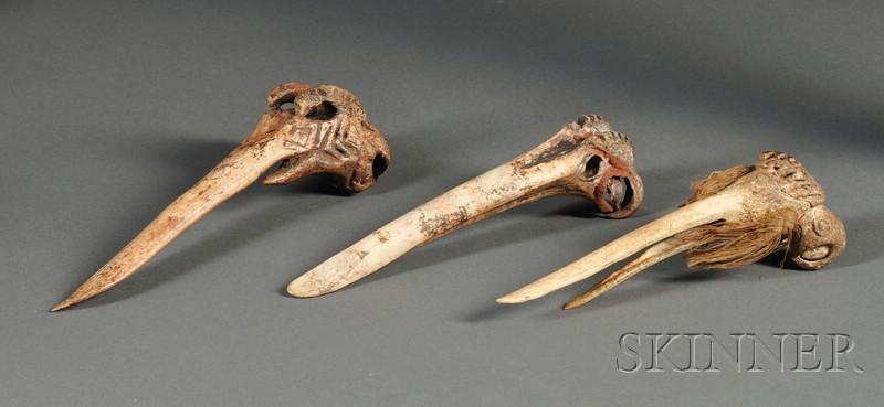 Three New Guinea Carved Bone Implements