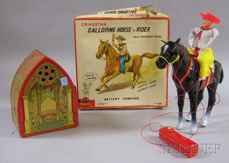 Cragstan Battery-op Galloping Horse and Rider and a J. Chein Lithographed Tin   Wind-up Musical Church