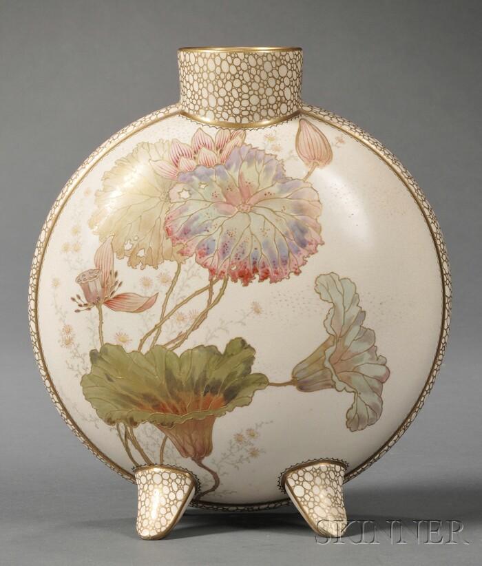 Doulton Burslem Hand-painted Moon Flask