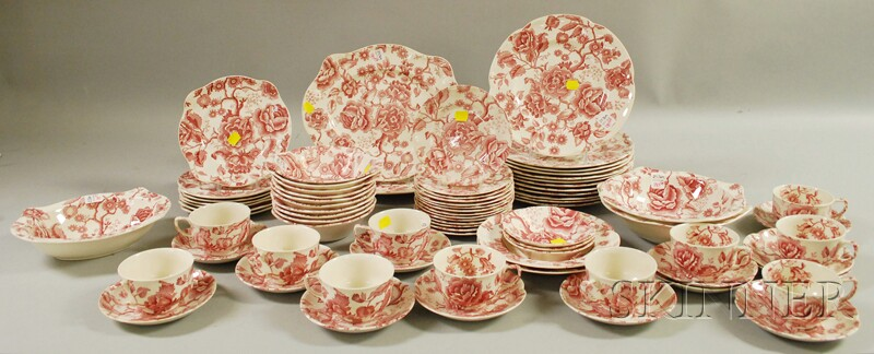 Seventy-seven-piece Johnson Bros. Red and White Transfer English Chippendale Pattern   Ironstone Partial Dinner Set