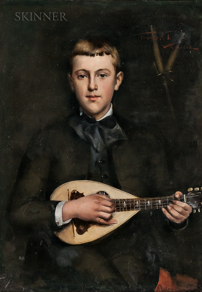 Frances Hunt (Ordway) Throop (American, 1860-1933)      Portrait of a Boy Playing a Mandolin