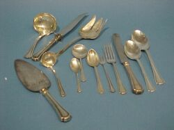Approximately 106 Piece Reed and Barton Sterling Clovelly Partial Flatware Service.
