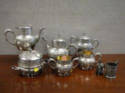 Six-Piece Victorian Aesthetic Silver Plated Tea Service