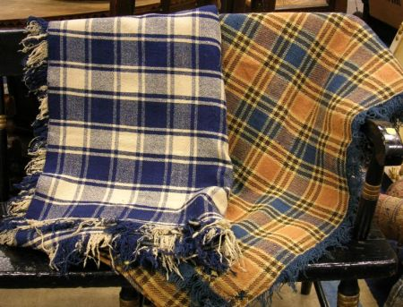 Two Wool Plaid Blankets.