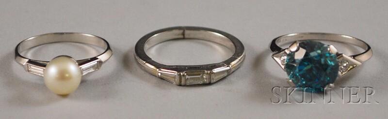 Three Platinum Gem-set Rings