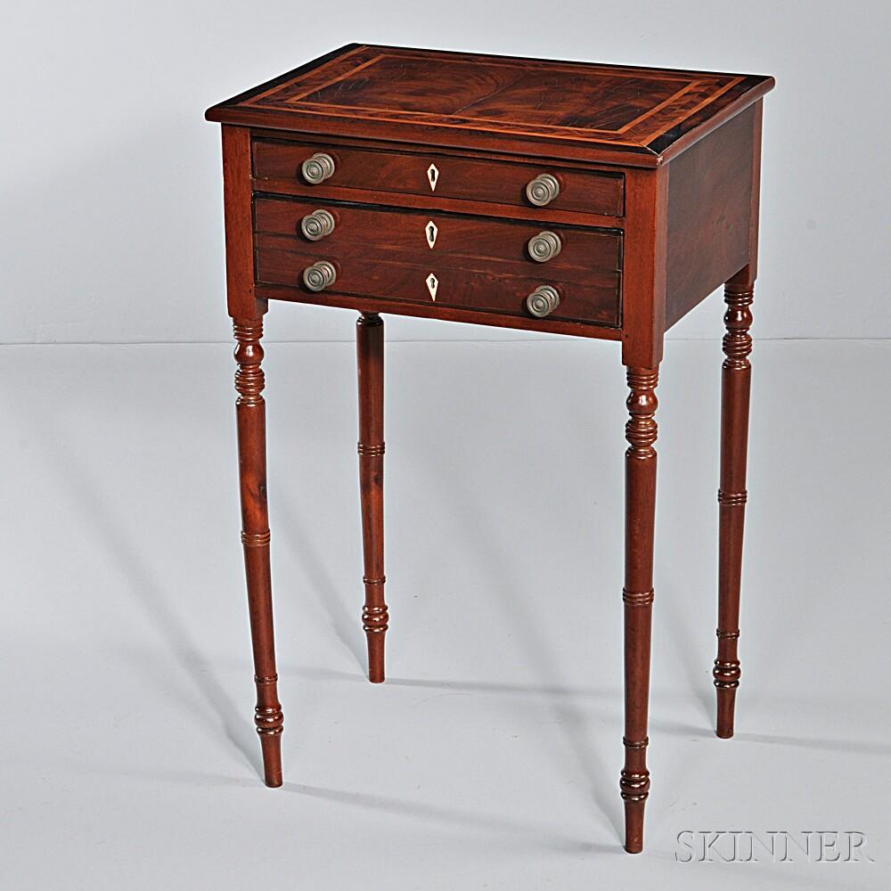 Hepplewhite Mahogany Veneer Inlaid Two-drawer Worktable