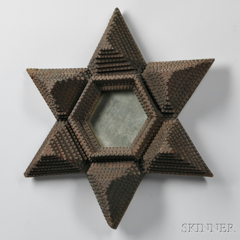 Carved Tramp Art Six-pointed Star Frame