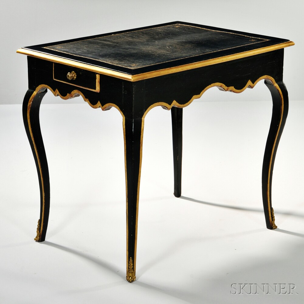 Louis XV-style Ebonized Parcel-gilt Table