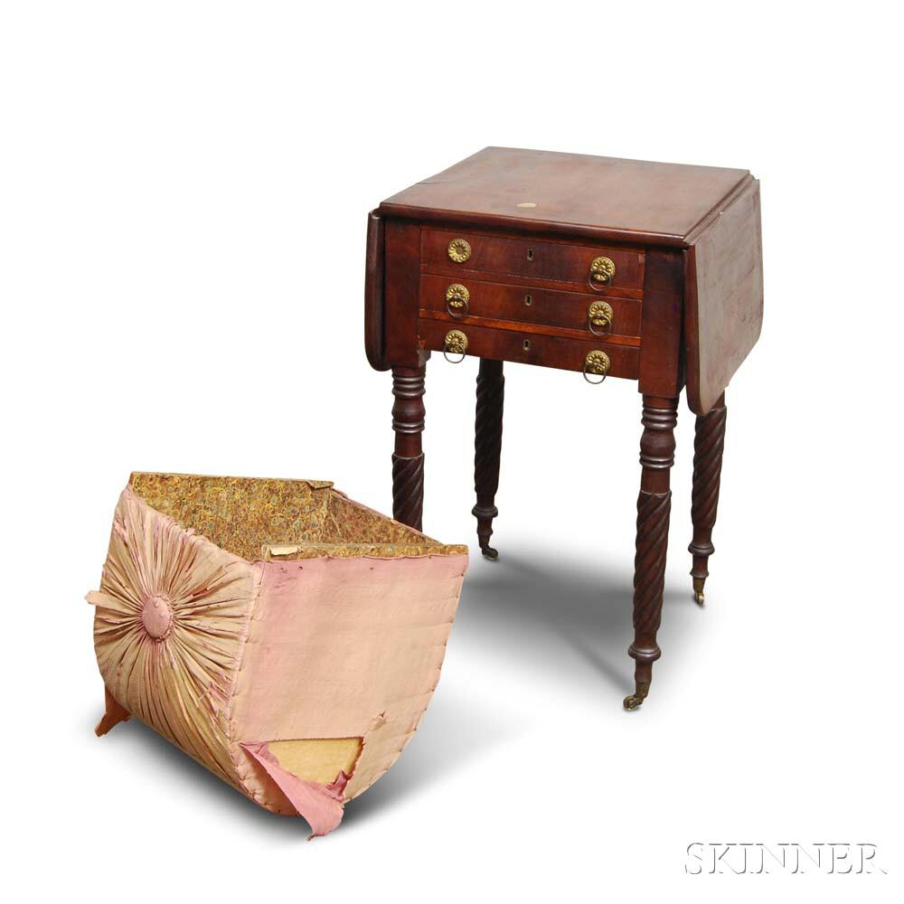 Federal Mahogany Three-drawer Sewing Stand