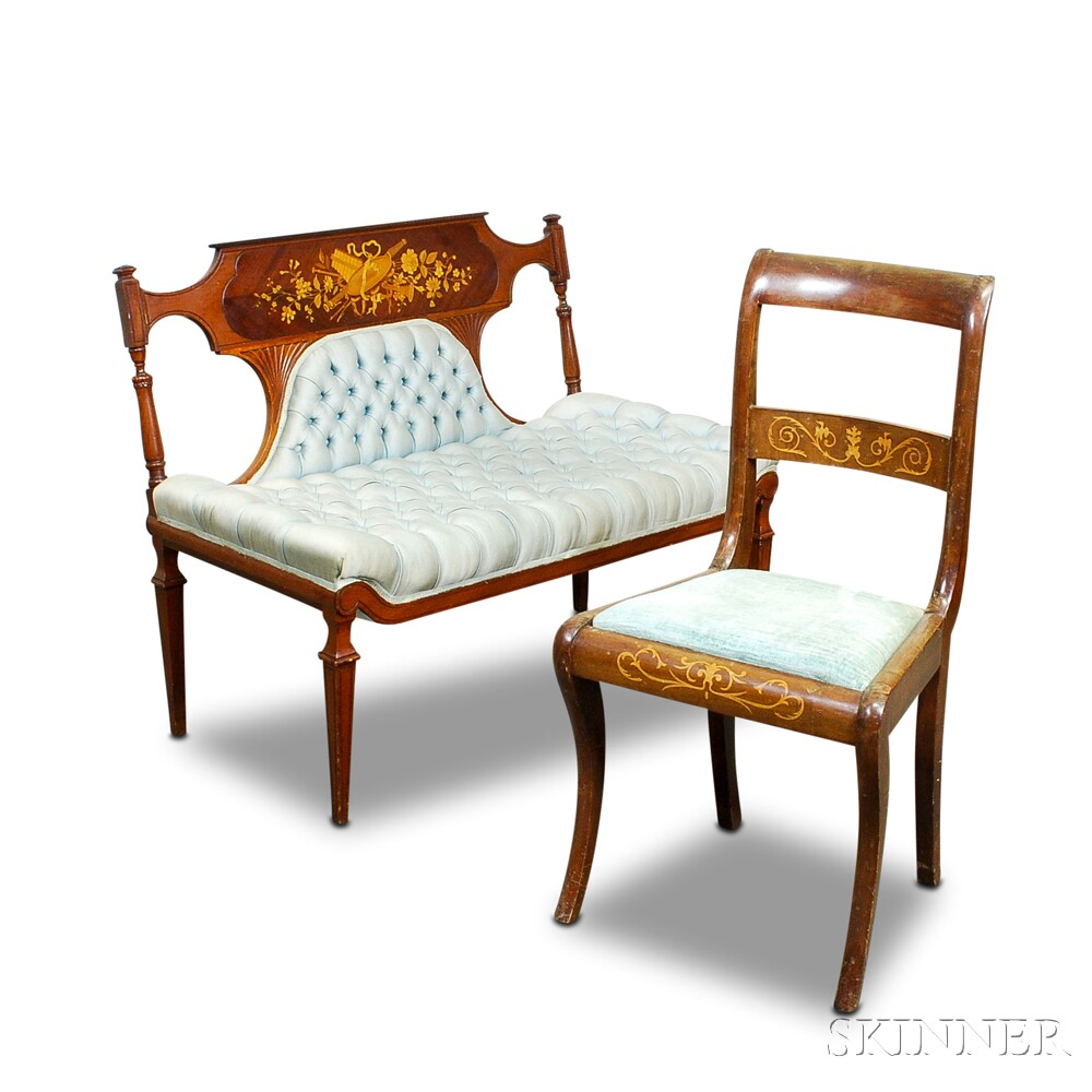 Neoclassical-style Marquetry Settee and a Chair.     Estimate $150-200