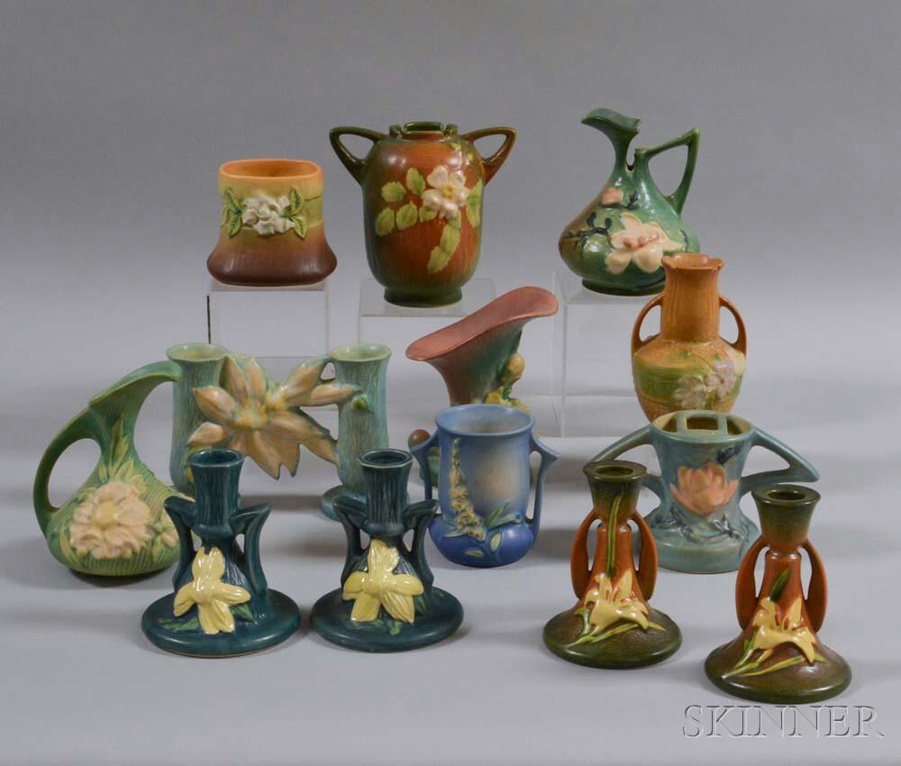 Large Group of Roseville Art Pottery Vessels