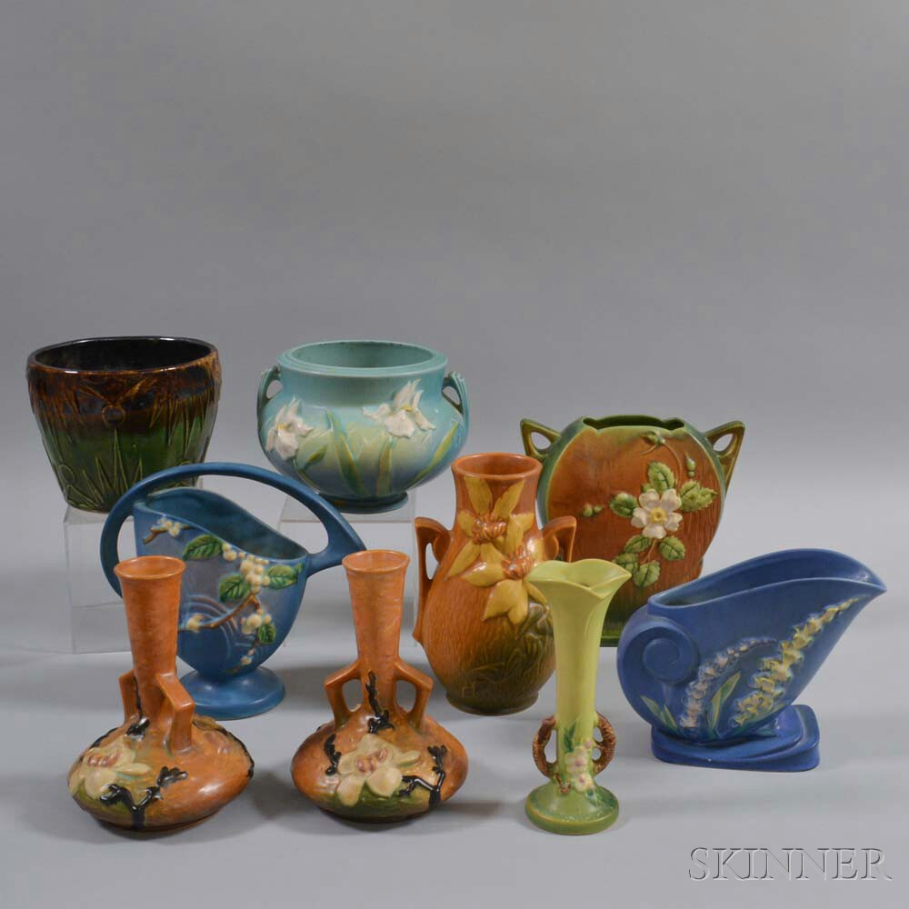 Large Group of Roseville Art Pottery Vessels